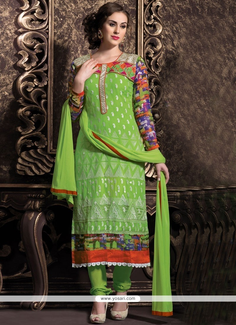 Glorious Green Georgette Churidar Suit