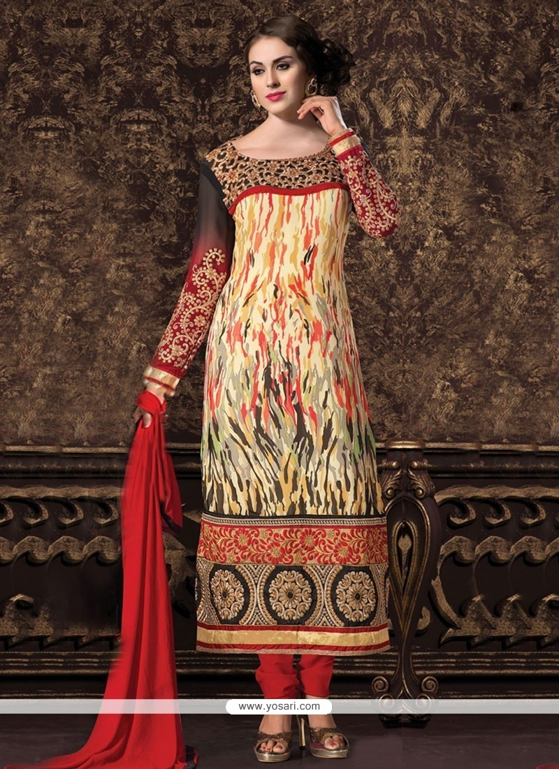 Baronial Cream Georgette Churidar Suit