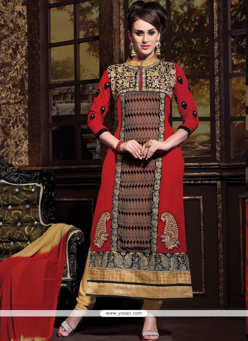 Fab Maroon Georgette Churidar Suit