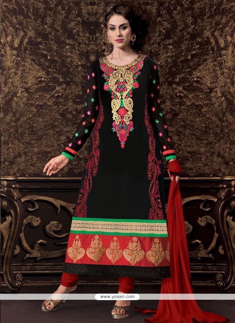 Appealing Black Georgette Churidar Suit
