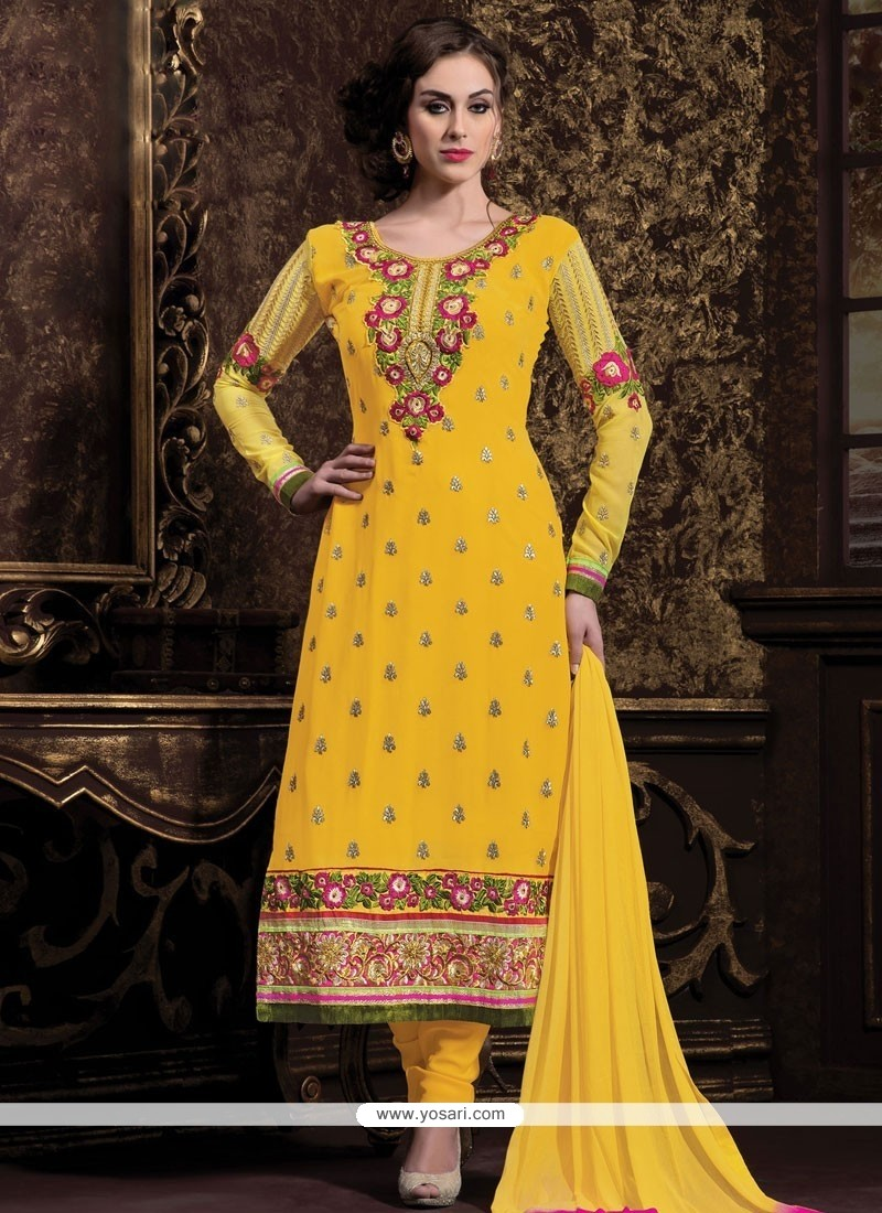 Yellow Georgette Churidar Salwar Kameez