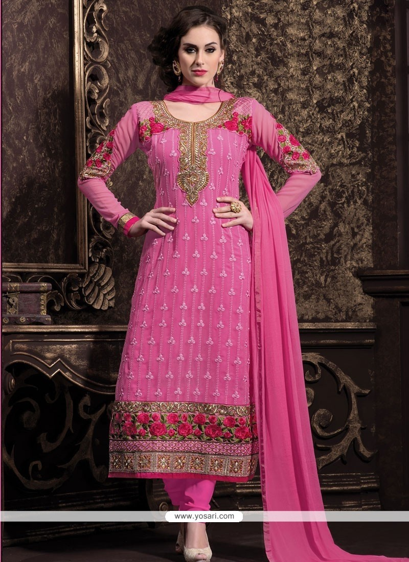 Angelic Pink Georgette Churidar Suit