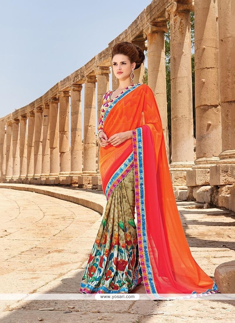 Pleasance Faux Chiffon Multi Colour Printed Saree