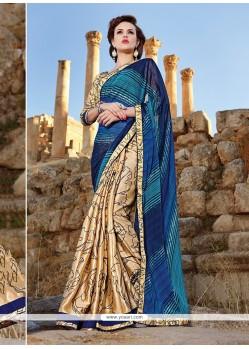 Enticing Satin Multi Colour Printed Saree