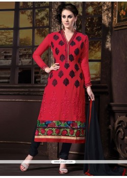 Admirable Maroon Georgette Churidar Suit