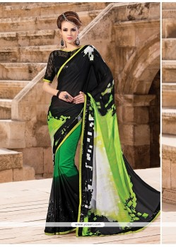 Adorable Multi Colour Georgette Printed Saree