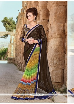 Customary Faux Chiffon Print Work Printed Saree