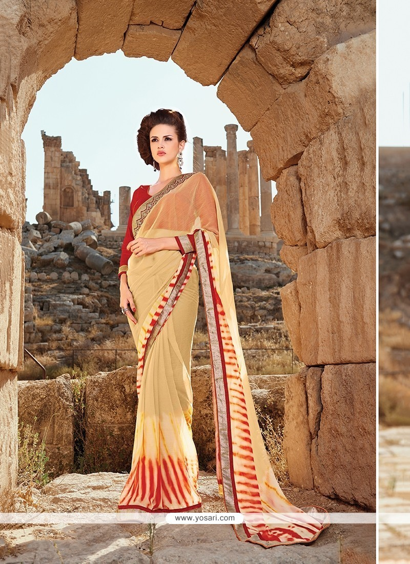 Appealing Faux Chiffon Multi Colour Patch Border Work Printed Saree