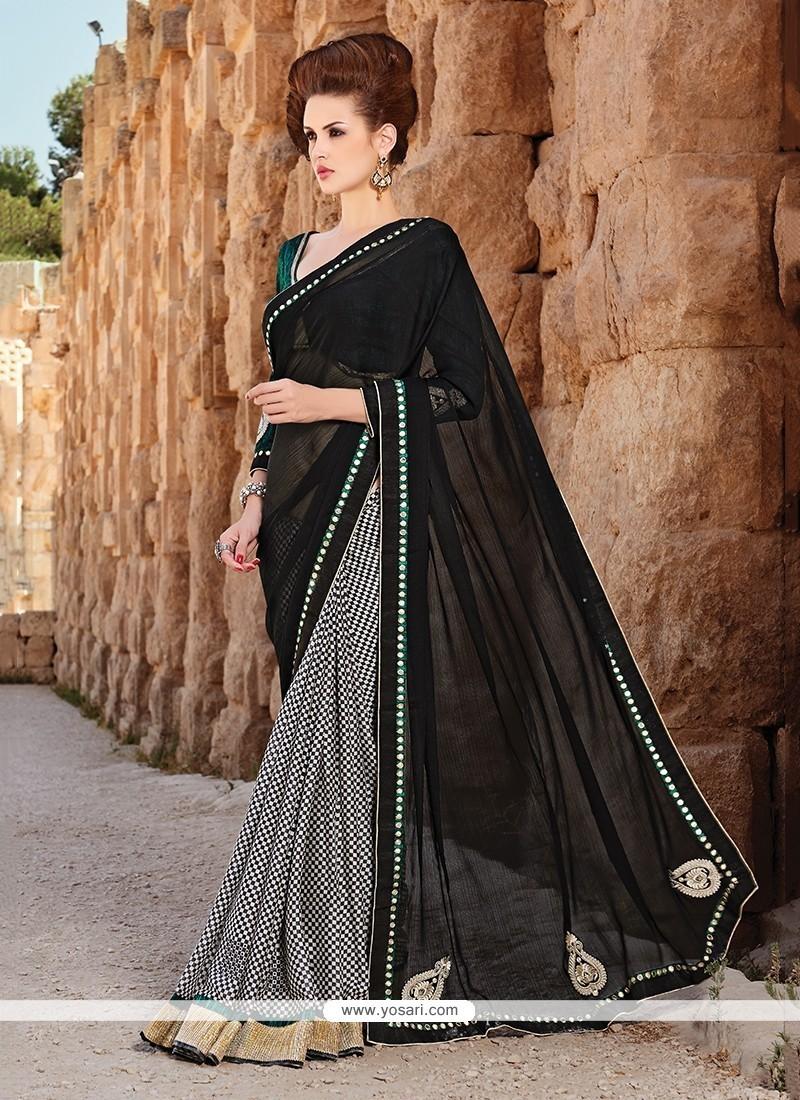 Flawless Faux Chiffon Black Lace Work Printed Saree