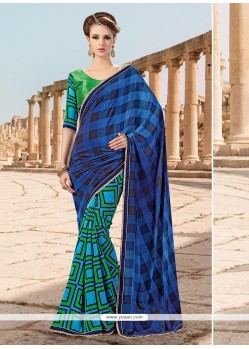 Glitzy Faux Crepe Lace Work Printed Saree