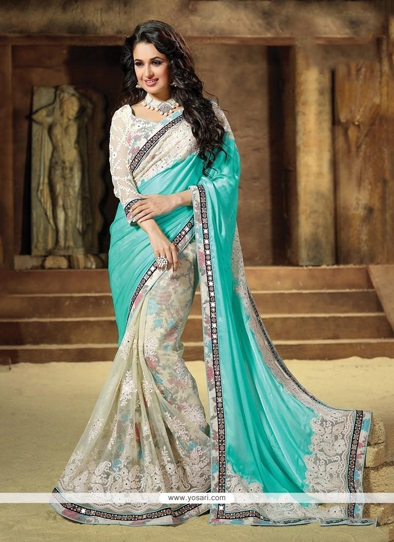 Piquant Net Turquoise Classic Saree