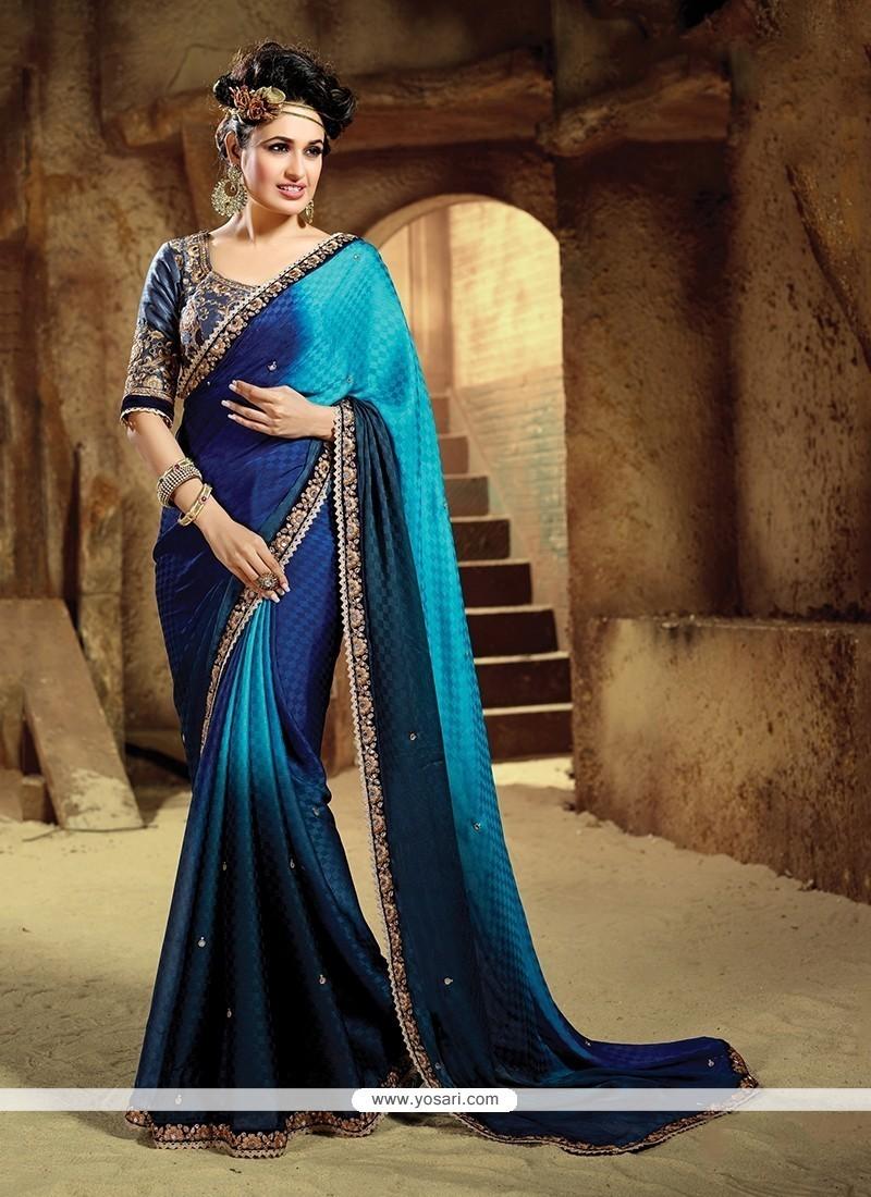 Adorable Navy Blue Designer Saree