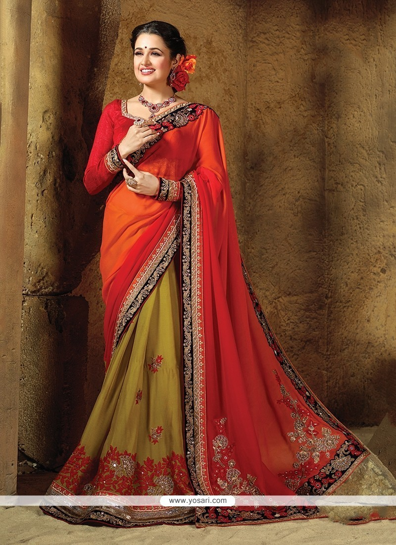 Peppy Pure Chiffon Green And Red Embroidered Work Traditional Saree