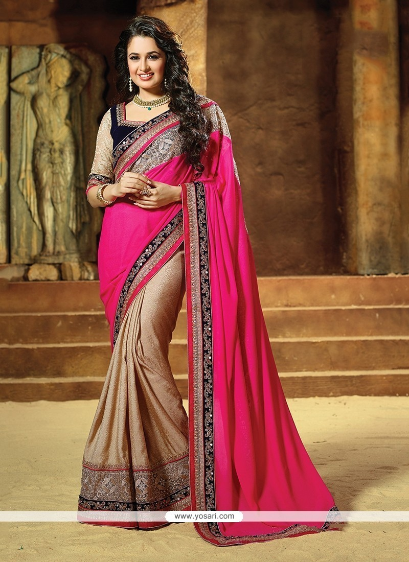 Riveting Embroidered Work Faux Chiffon Classic Designer Saree