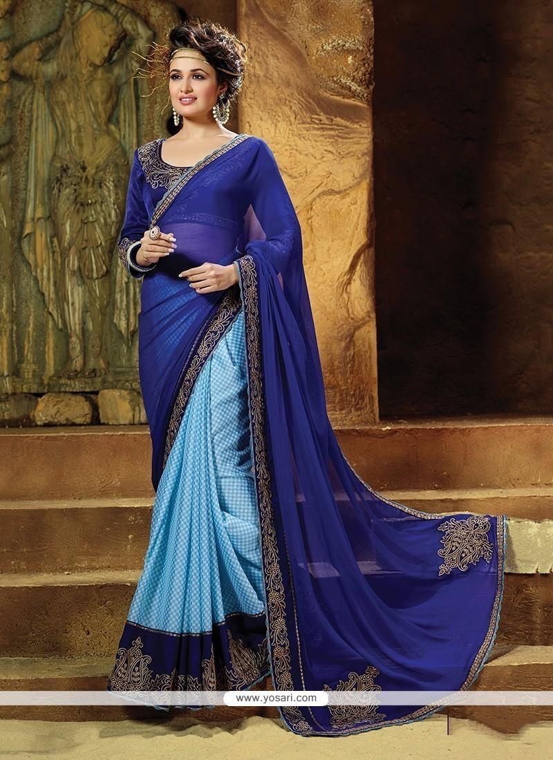 Titillating Patch Border Work Blue Designer Saree