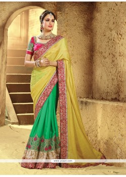 Delightful Green And Yellow Embroidered Work Georgette Classic Saree