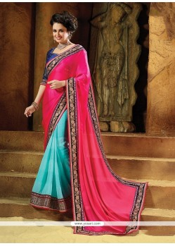 Glossy Pure Chiffon Hot Pink Embroidered Work Designer Traditional Sarees