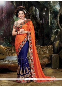 Modern Georgette Navy Blue And Orange Embroidered Work Designer Traditional Sarees