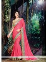 Innovative Crepe Jacquard Hot Pink Patch Border Work Classic Designer Saree