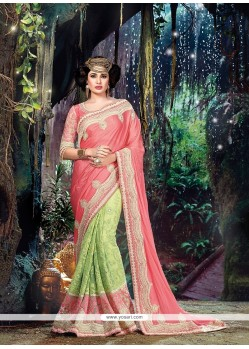 Eye-catchy Patch Border Work Green Designer Traditional Sarees