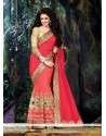 Alluring Georgette Hot Pink Classic Saree