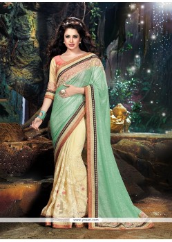 Exceptional Cream Patch Border Work Designer Saree