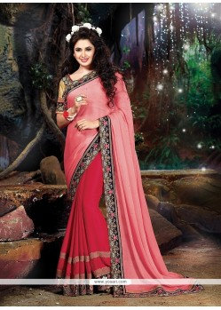 Wonderous Georgette Patch Border Work Classic Designer Saree