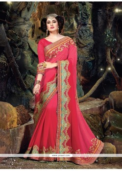 Glowing Pure Chiffon Hot Pink Designer Traditional Sarees