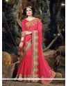 Glowing Pure Chiffon Hot Pink Designer Traditional Sarees