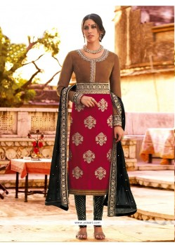 Magenta Velvet Churidar Salwar Suit