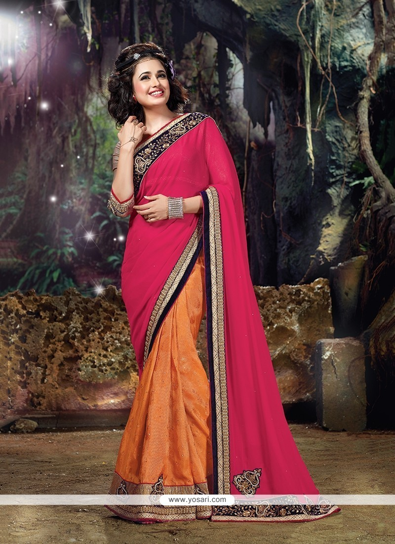 Mod Hot Pink And Orange Embroidered Work Classic Designer Saree