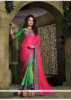 Invigorating Green And Hot Pink Patch Border Work Jacquard Designer Saree