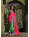 Invigorating Green And Hot Pink Patch Border Work Jacquard Designer Saree