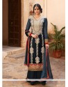 Baronial Blue Velvet Pakistani Suit