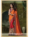 Lovable Patch Border Work Orange Designer Traditional Sarees