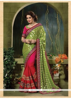 Splendid Green And Hot Pink Patch Border Work Jacquard Classic Designer Saree