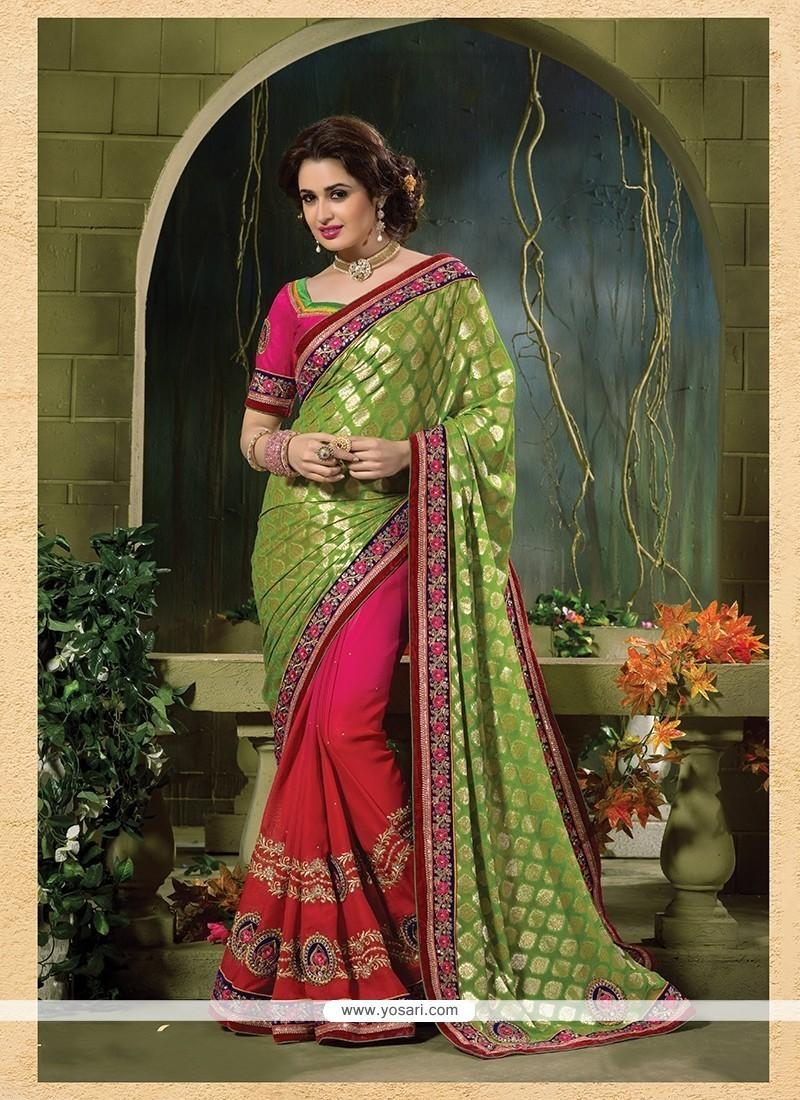 Splendid Green And Hot Pink Patch Border Work Jacquard Classic Designer Saree