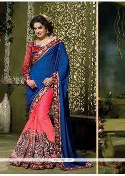 Classical Net Navy Blue And Rose Pink Traditional Saree