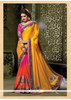 Energetic Embroidered Work Multi Colour Crepe Jacquard Designer Traditional Sarees