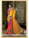 Energetic Embroidered Work Multi Colour Crepe Jacquard Designer Traditional Sarees