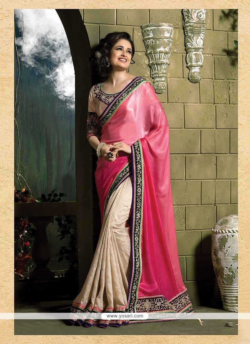 Modernistic Cream And Hot Pink Patch Border Work Pure Chiffon Classic Designer Saree
