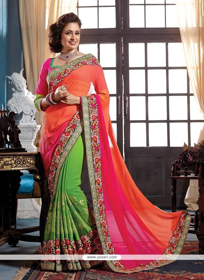 Girlish Green And Orange Jacquard Designer Traditional Sarees