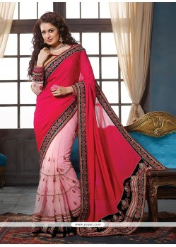 Magnetize Pink Embroidered Work Net Traditional Saree