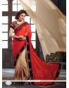 Gratifying Jacquard Beige And Red Embroidered Work Classic Saree