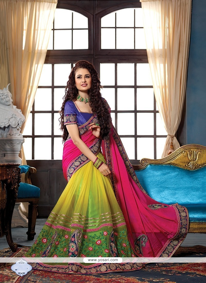 Buy Nice Net Embroidered Work Designer Traditional Sarees Online