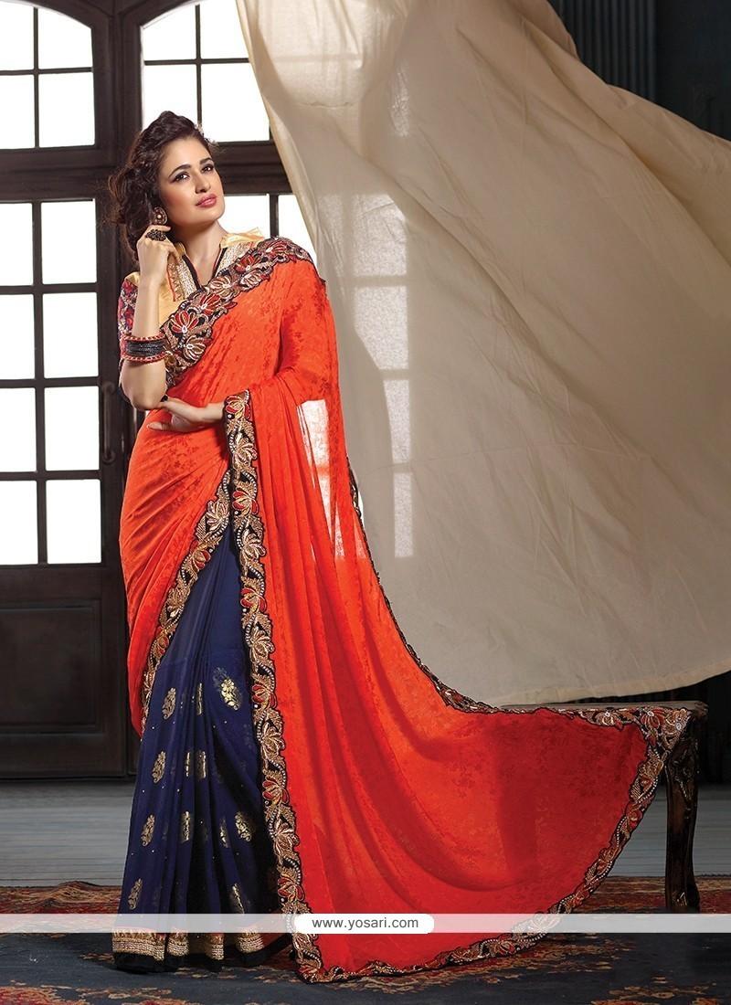 Ravishing Patch Border Work Classic Designer Saree