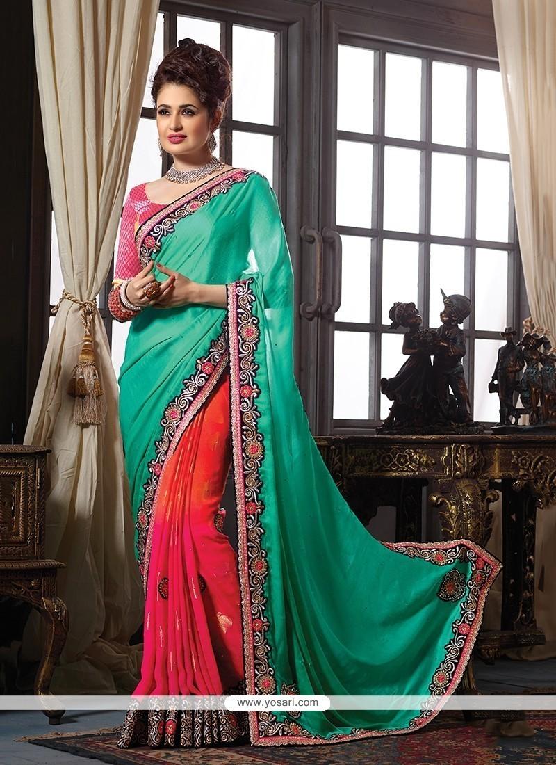 Splendid Patch Border Work Classic Designer Saree