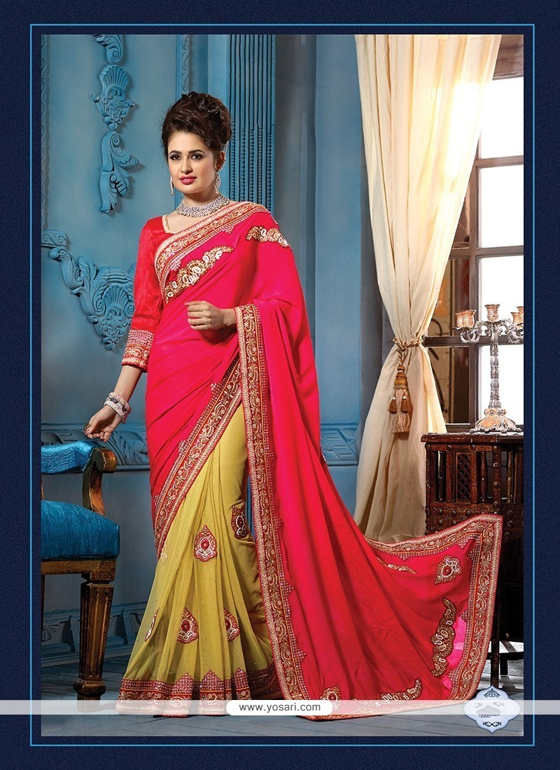 Distinguishable Green And Hot Pink Embroidered Work Net Traditional Designer Sarees