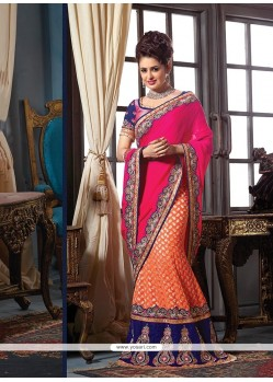 Sterling Hot Pink And Orange Patch Border Work Designer Traditional Sarees