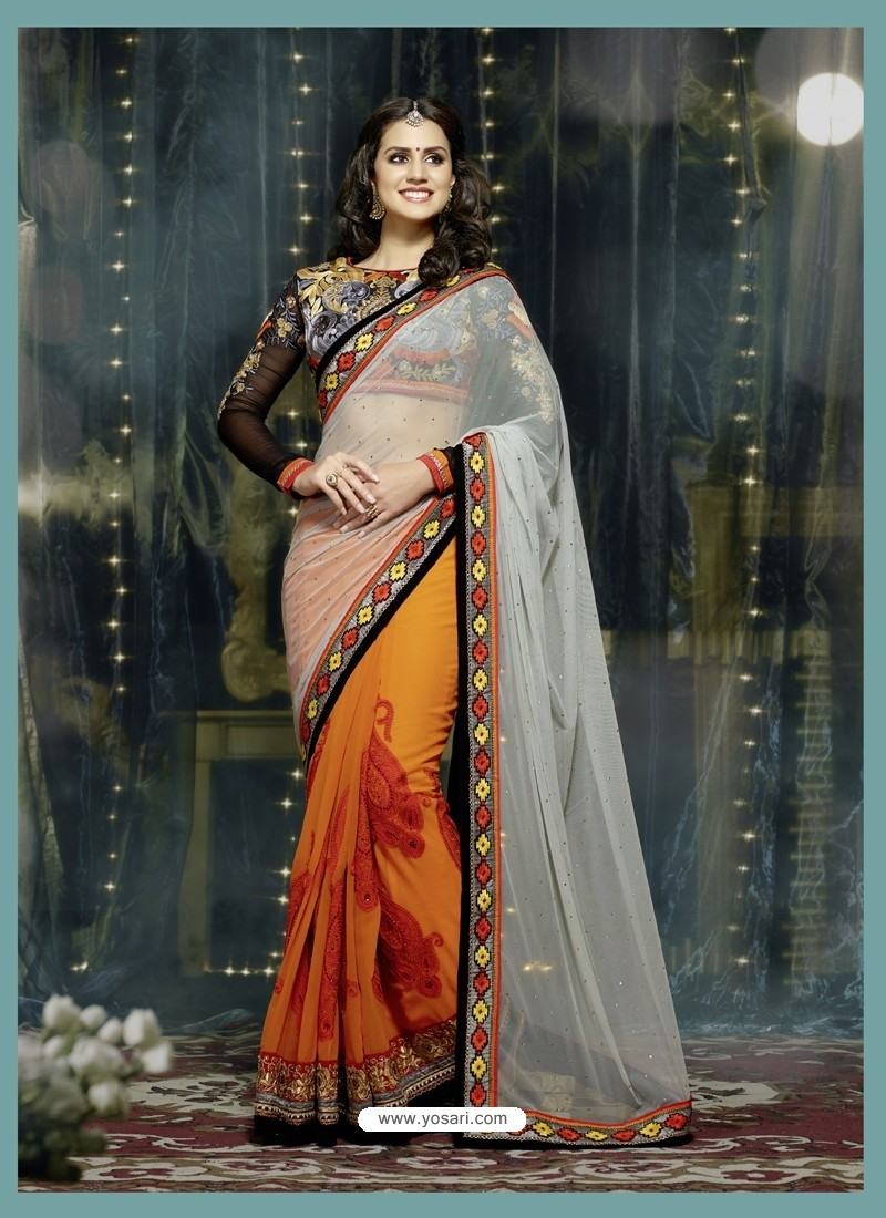 Orange And Grey Soft Net Designer Saree